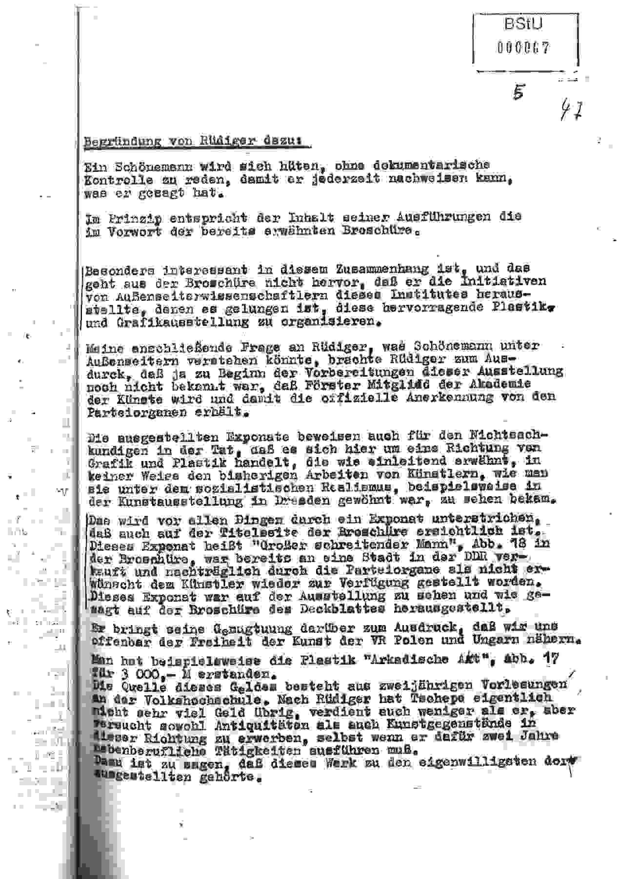 IM-Bericht über die Ausstellungseröffnung »Wieland Förster«, 7. Mai 1974