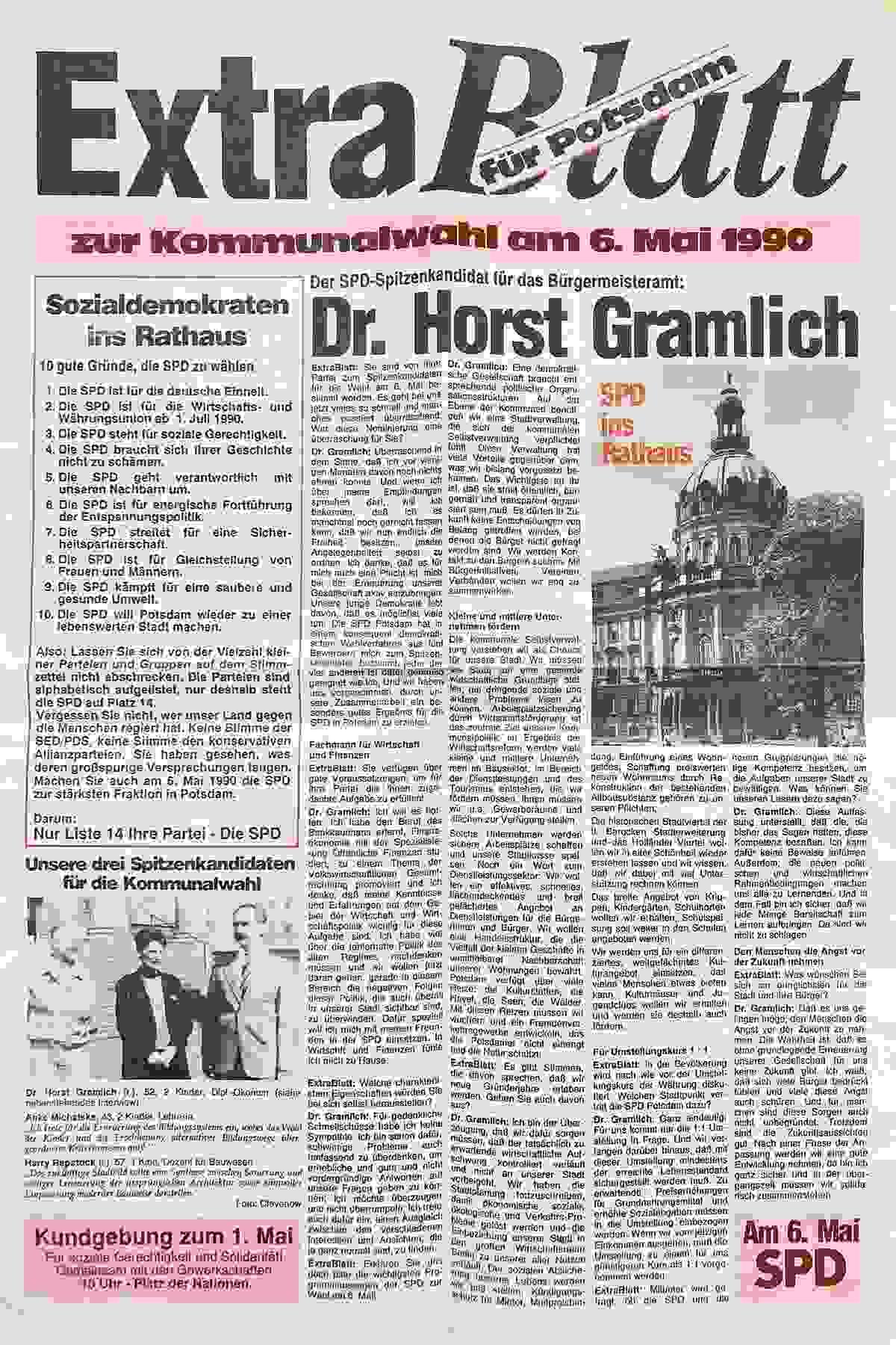 Wahlzeitung der SPD für die Kommunalwahlen der DDR 1990
