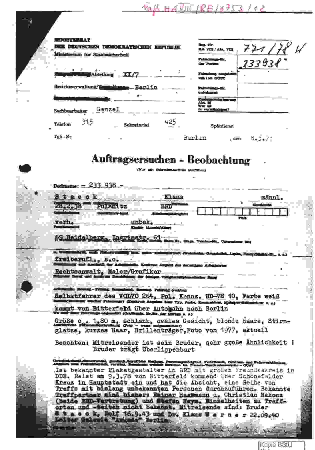 Stasi-Bericht über die Einreise von Klaus Staeck in die DDR am 8. Mai 1978
