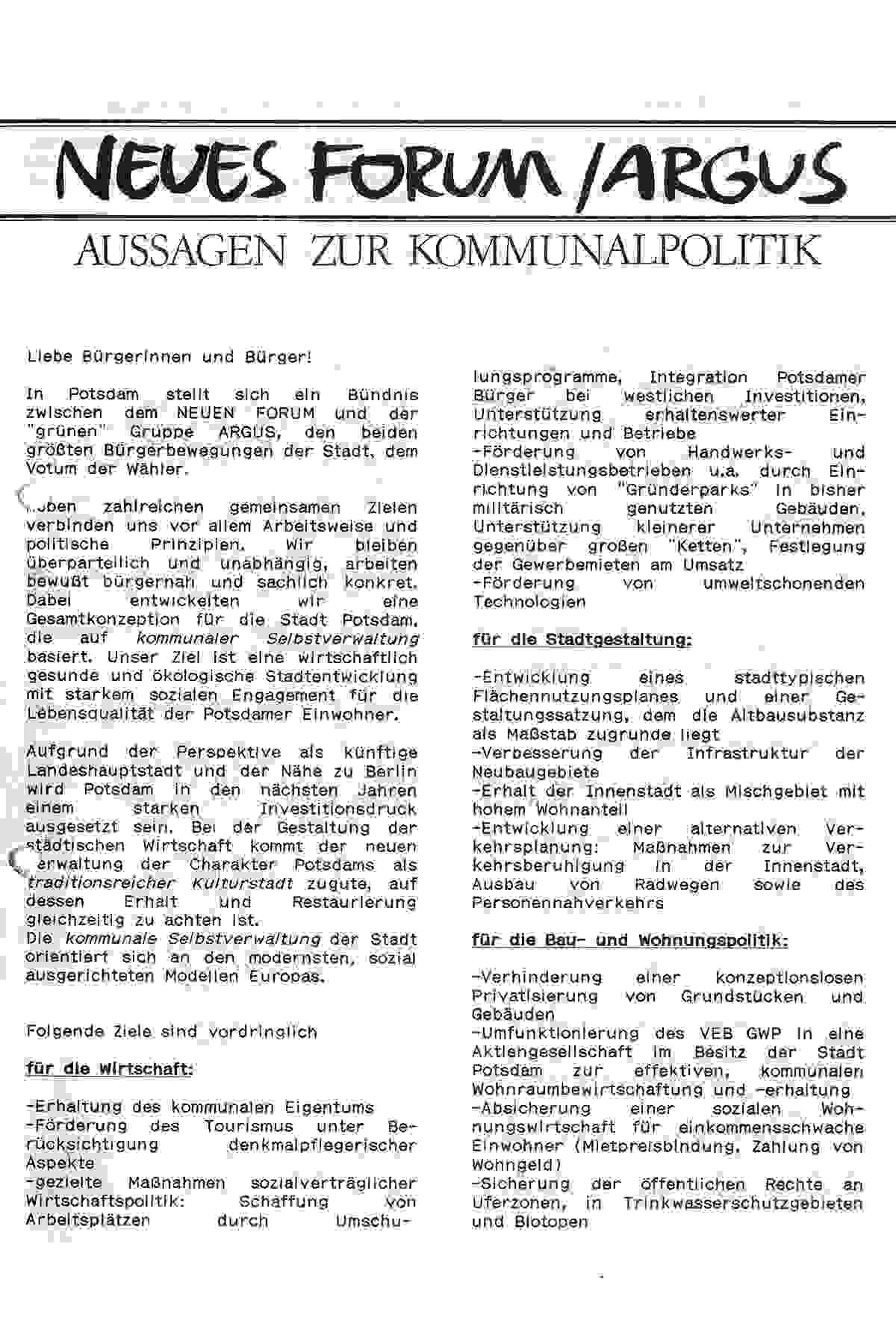 Neues Forum: Wahlprogramm für die Kommunalwahlen 1990 am 6. Mai 1990