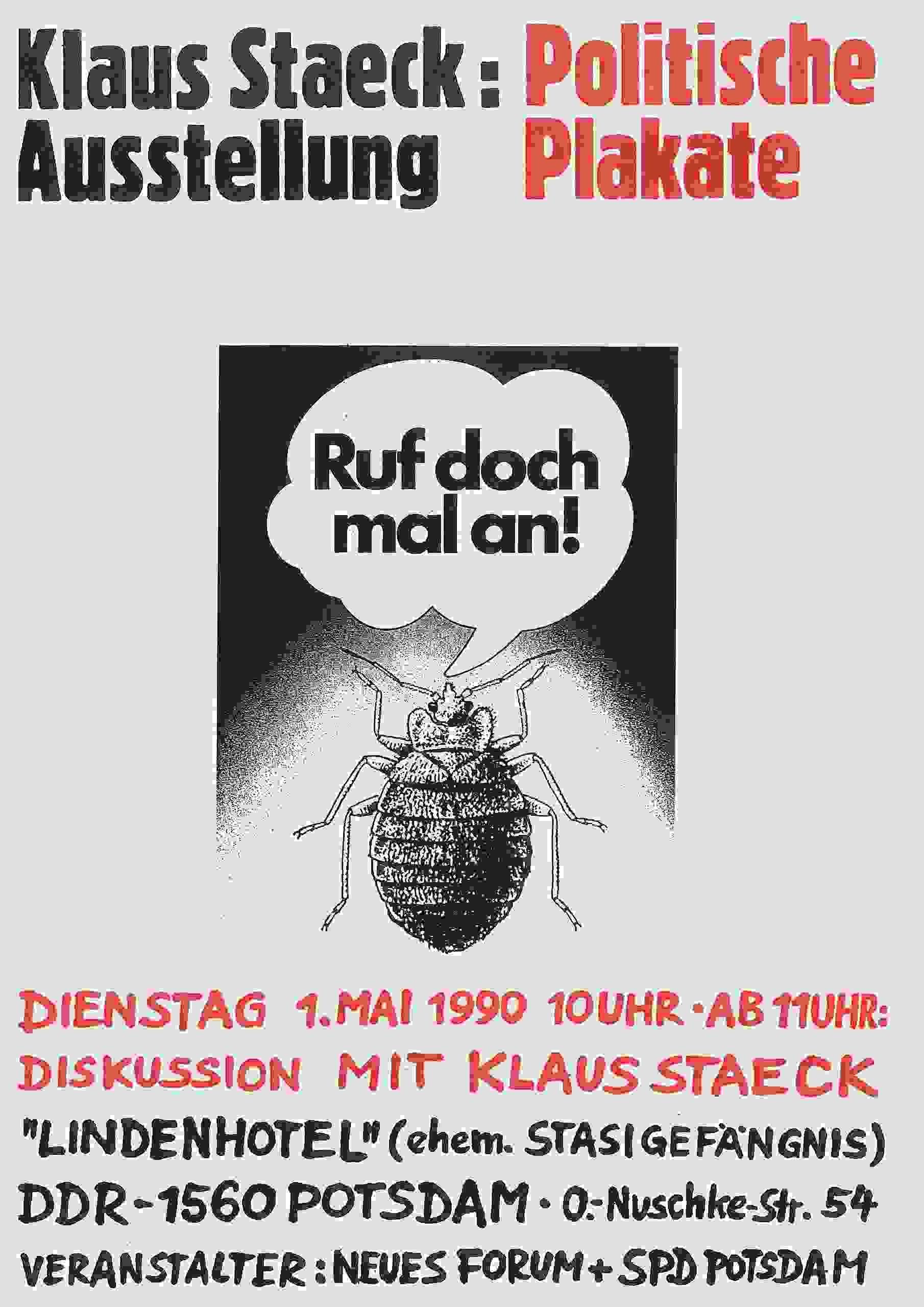 Original Ausstellungsplakat Mai 1990. Privatarchiv Rüdiger